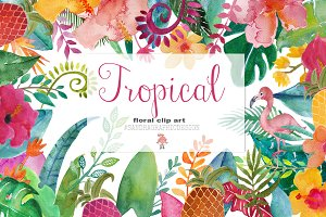 Tropical floral clip art