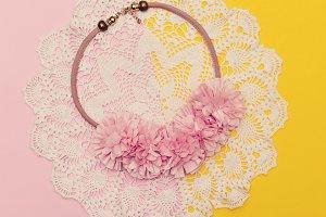Girls Pink flowers. Glamorous Jewerl