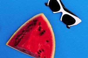 Fashion white sunglasses.