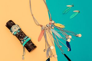 Jewelry. Feathers. Hippie Country