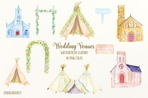 Watercolor Clipart Wedding Venues