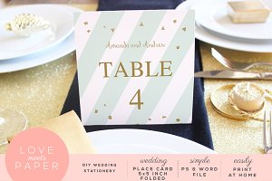 Table Place Card Template PC3009