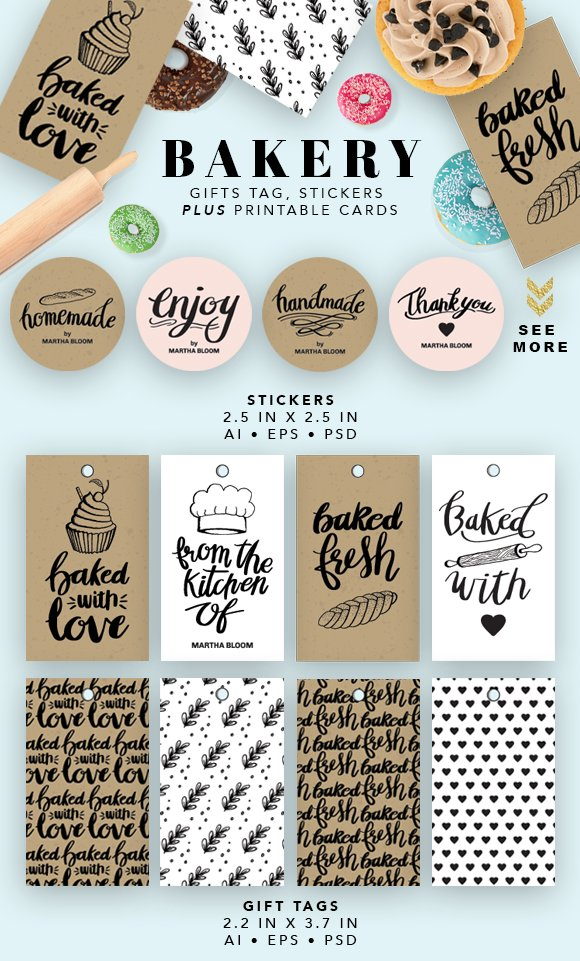 Bakery Printable Cards