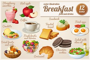 Set of food icons. Breakfast.
