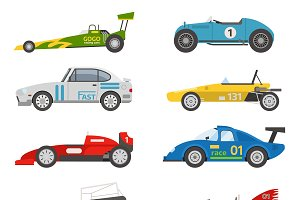 Retro sport car vector set