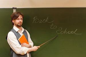 Teacher shows pointer