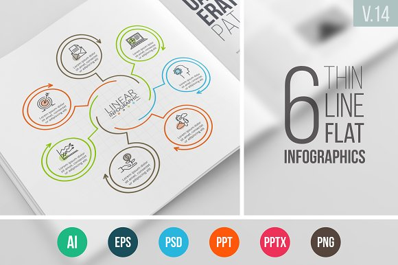 Linear elements for infographic v.14 - Presentations