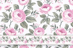set of seamless patterns with roses