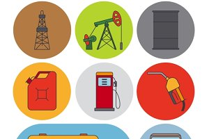 Oil industry flat line icons