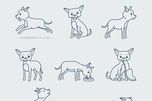Cute dog doodle icons