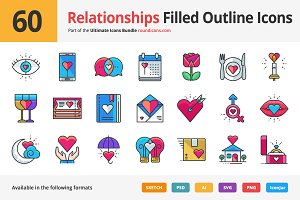 60 Relationships Filled Outline Icon