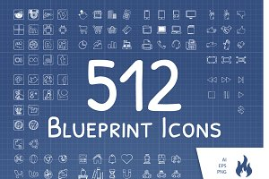 512 Blueprint / Sketched Icon Set