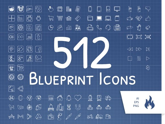 512 blueprint sketched icon set icons creative market malvernweather Image collections