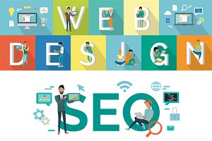 Web Design, SEO Vector Concept
