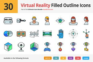 30 Virtual Reality Outline Icons