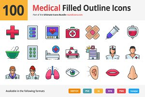 100 Medical Filled Outline Icons