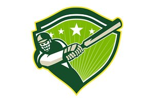 Cricket Player Batsman Star Crest