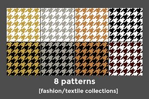 8 gold, silver, bronze houndstooth