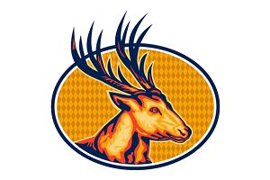 Deer Stag Buck Head Retro