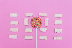 Lollipop and marshmallow
