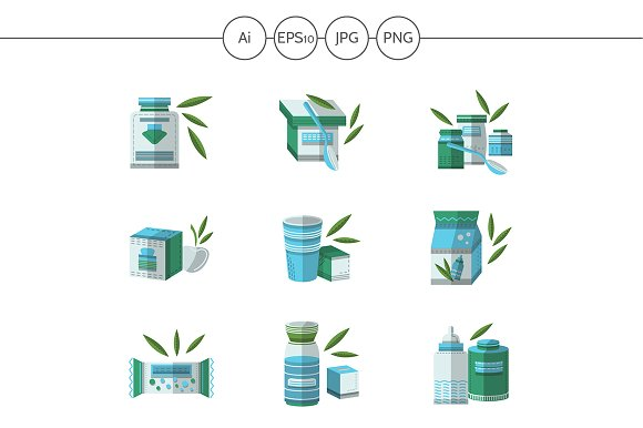 Baby food flat vector icons. Set 2 - Icons