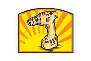 Cordless Drill Power Tool Woodcut