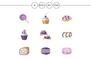 Sweets and candy flat icons. Set 1