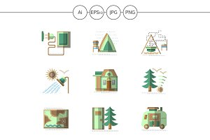 Camping flat green icons. Set 2