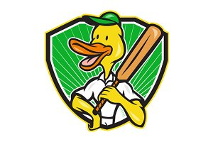 Duck Cricket Player Batsman Cartoon