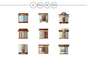 Storefronts flat color icons. Set 2