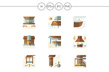 Bungalows and cafe flat icons. Set 2