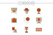 Basketball flat vector icons. Set 2