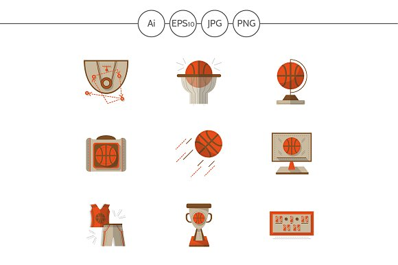 Basketball flat vector icons. Set 2 - Icons