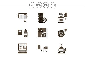 Flat style car service icons. Set 1
