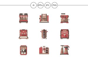 Coffee making equipment flat icons