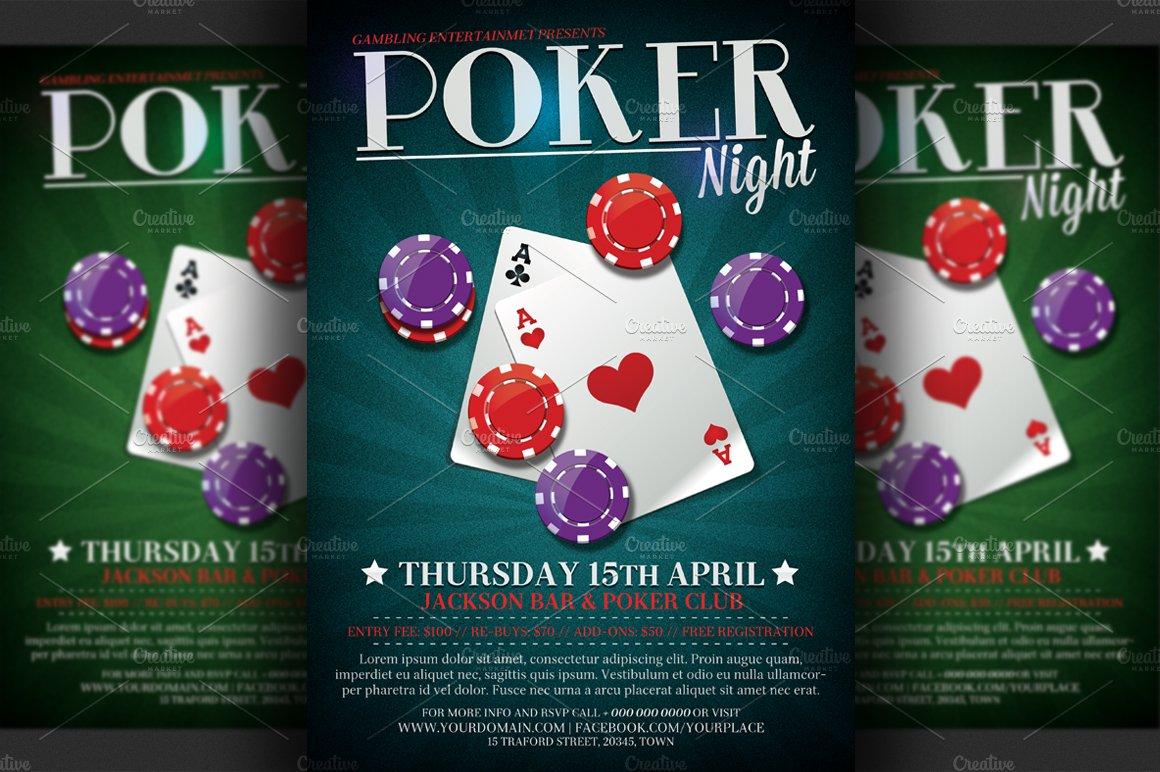 Poker Night Flyer Template Flyer Templates Creative Market - Poker tournament flyer template word