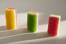 Different fruit-paste candies