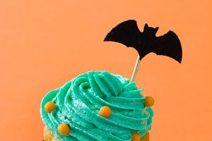 Halloween cupcake with a bat