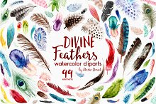 Divine Feathers - watercolor clipart