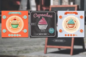 Cupcakes poster vector set
