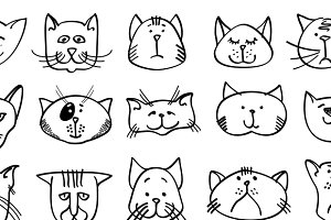 Cute cat heads in hand drawn style