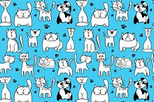 Blue pattern with cute cats