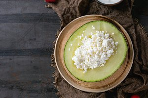 Cottage cheese in melon