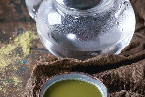 Cup of green matcha tea