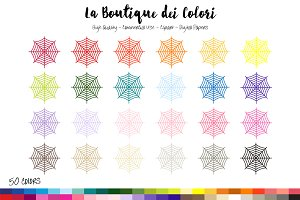 50 Rainbow Cobweb Clip Art