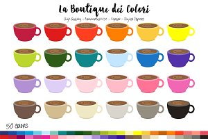 50 Rainbow Coffee Clip Art
