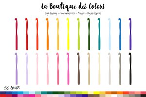 50 Rainbow Crochet Hook Clip Art