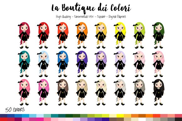 50 Rainbow Cute Witch Clip Art