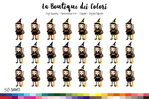 50 Rainbow Cute Witch Clip Art