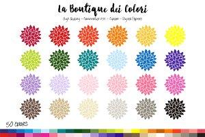 50 Rainbow Dahlia Clip Art